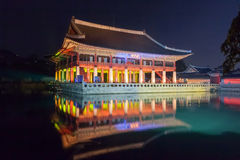 Gyeonghoeru in Gyeongbokgung palace at night -  Seoul,  Republic of Korea Royalty Free Stock Photo