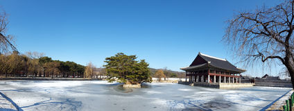 Gyeonghoeru Pavilion - Panorama shot. Gyeonghoeru Pavilion is a place where royal banguet was held during the Joseon Dynasty in South Korea Stock Photography