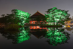 Gyeonghoeru with trees near it at night - Gyeongbokgung palace, Seoul,  Republic of Korea Royalty Free Stock Images