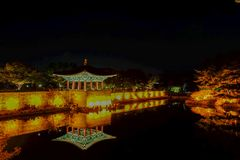 Anapji Pond at Night. Gyeongju, South Korea -November 1, 2017 : Donggung Palace and Anapji Pond at Night, Gyeongju, South Korea Royalty Free Stock Photos