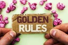 Gyllene regler för ordhandstiltext Affärsidé för planet Norm Policy Statement som för avsikt för regleringsprincipkärna är skrift Royaltyfria Foton
