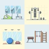 Gym ćwiczenia wyposażenia izbowy wewnętrzny salowy set L ilustracji