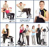 Gym. Smiling mature strong man and women working out. Isolated over white background Royalty Free Stock Image