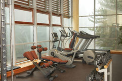 Gym. Fitness gym hall in luxury hotel Royalty Free Stock Photo