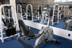 Gym. Fitness gym hall interior blue background Royalty Free Stock Photography