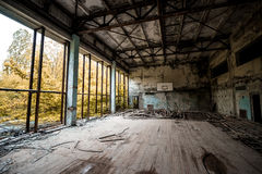 Gym in abandoned Pripyat school Stock Photos