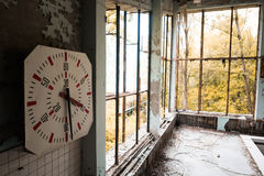 Gym in abandoned Pripyat school Stock Images