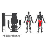 Gym abductor machine Stock Photo