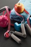 Gym accessories for healthcare and weight control on mat Stock Photos