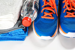 Gym accessories with sport shoes Royalty Free Stock Photo