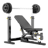 Gym adjustable weight bench with barbell isolated on white. Background Royalty Free Stock Image
