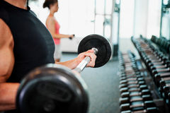 Gym: Anonymous Man Working Out With Barbell Stock Images