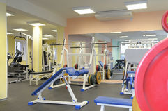Gym apparatus. Sports training apparatus in gym Stock Photos
