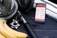 Gym assistant on smartphone. Concept of app for healthcare Royalty Free Stock Image