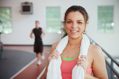 Gym: Athletic Woman Standing By Running Track Stock Image