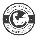 Gym badge - bodybuilder`s hand, sport emblem Royalty Free Stock Photography