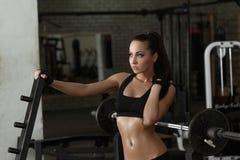 Gym. Beautiful woman posing sweaty after workout. Gym. Shot of beautiful brunette posing sweaty after workout stock photo