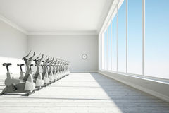 Gym with big windows Royalty Free Stock Images