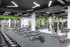 Gym with a black ceiling Royalty Free Stock Images