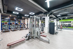 Gym with a black ceiling Stock Photos