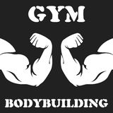 Gym and bodybuilding emblem with biceps. Gym and bodybuilding emblem with hand biceps Royalty Free Stock Photos