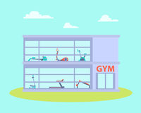 Gym building with equipment Royalty Free Stock Photography