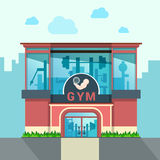 Gym building exterior outdoor front view facade sh Stock Images