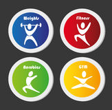 Gym buttons. Over black background vector illustration Royalty Free Stock Images