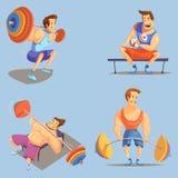 Gym Cartoon Icons Set Stock Photo