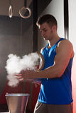 Gym Chalk Magnesium Carbonate hands clap man Stock Photo