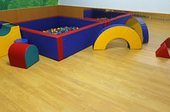 Gym for children with many exercise equipments to perform the ex Royalty Free Stock Images