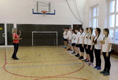 Gym class in the cadet corps of the police. MOSCOW, RUSSIA - OCTOBER 24, 2013:Gym class in the cadet corps of the police. Cadet corps - initial military Royalty Free Stock Photography