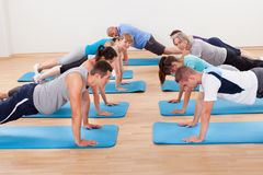 Gym class doing press ups Stock Photography