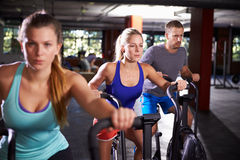 Gym Class Working Out On Cross Trainers Together Stock Photo