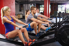 Gym Class Working Out On Rowing Machines Together Royalty Free Stock Photos