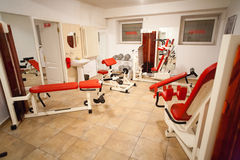 Gym club training machines Royalty Free Stock Photo