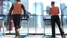 Gym com as várias máquinas do exercício nele e os povos que andam na escada rolante no dia ensolarado ilustração stock