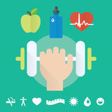 Gym concept flat icon set with health care, food and water. Illustration and modern design element stock illustration