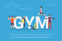 Gym concept vector illustration of young people doing workout with equipment. Flat design of guys and women training near big letters gym. Active lifestyle Stock Image