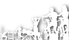 Gym cutout. Editable  cutout of people exercising in a gym with background shadow made using a gradient mesh Stock Image
