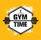 Gym czasu treningu i sprawność fizyczna projekta elementu pojęcie Kreatywnie wektor Na Grunge tle royalty ilustracja