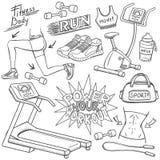 Gym doodles ustawiający ilustracji