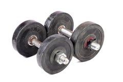 Gym dumbbells. Beautiful shot of gym dumbbells on white background stock photo