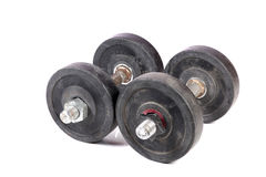 Gym dumbbells. Beautiful shot of gym dumbbells on white background royalty free stock photography