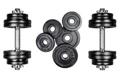 Gym dumbbells with black metal weights 1kg and 2kg, isolated on white background with clipping path. Top view, flat lay. Can be us. Ed as a gym background stock photo