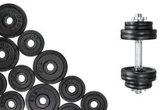 Gym dumbbells with black metal weights 1kg and 2kg, isolated on white background with clipping path. Top view, flat lay. Can be us. Ed as a gym background stock photos