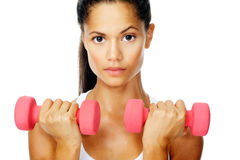 Gym dumbell portrait Stock Photos