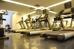 Gym equipment. Hotel room with gym equipment Stock Photos