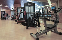 Gym equipment. Hotel room with gym equipment Royalty Free Stock Images