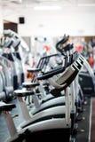 Gym equipment. Modern gym equipment line up Royalty Free Stock Photos